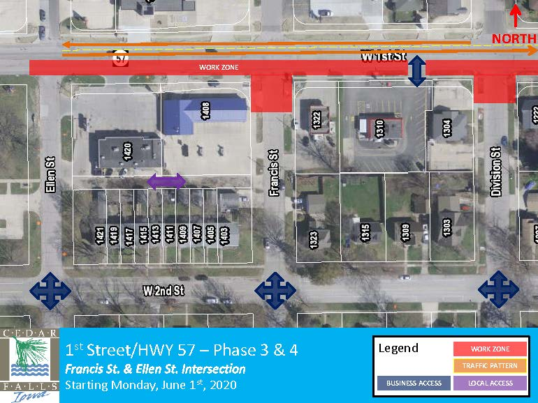 1st Street Phase 3 and 4 Closure Map