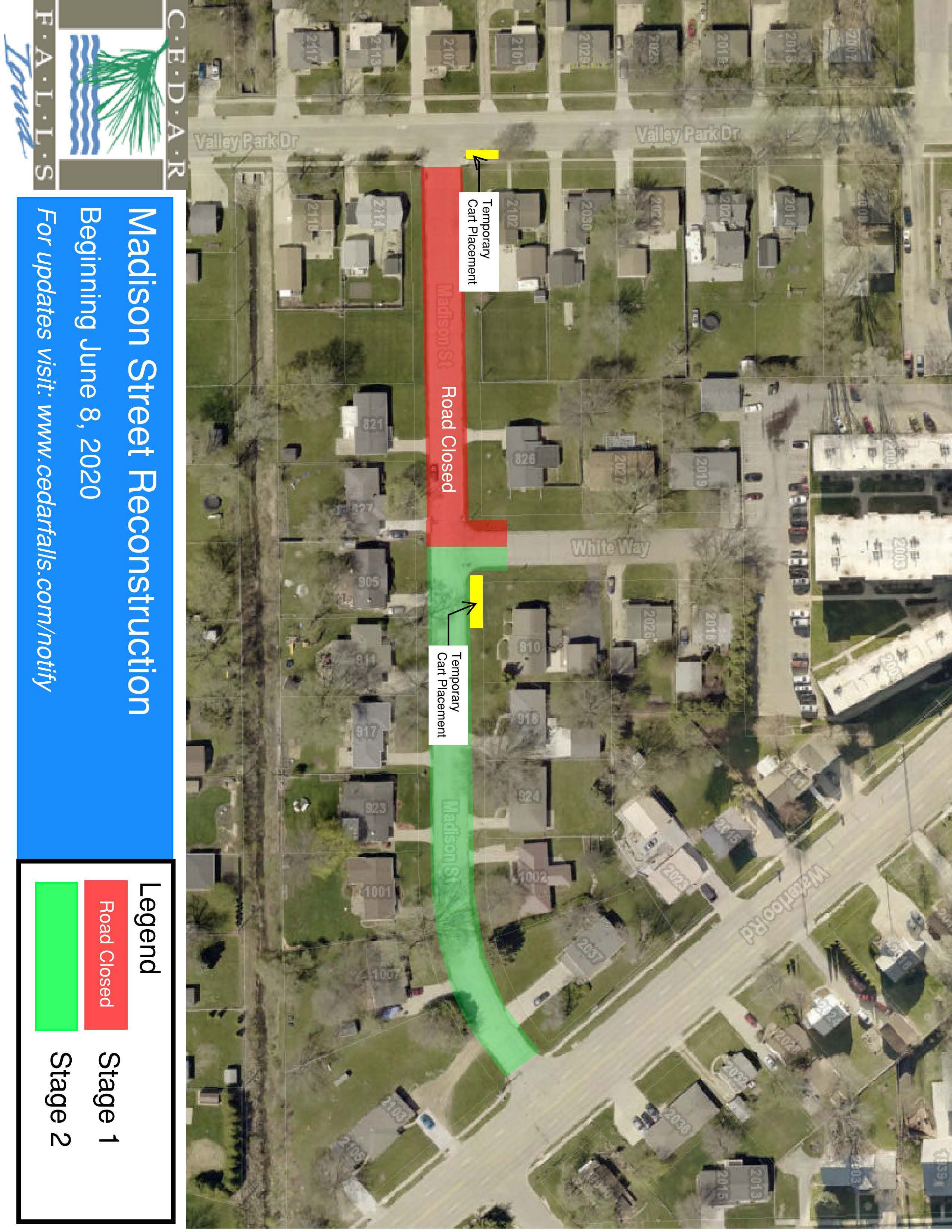 Madison St Closure - Stage 1 Map