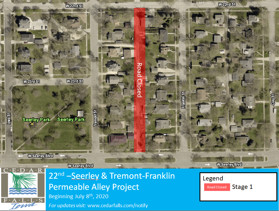 22nd St. to Seerley St. Alley closure notice