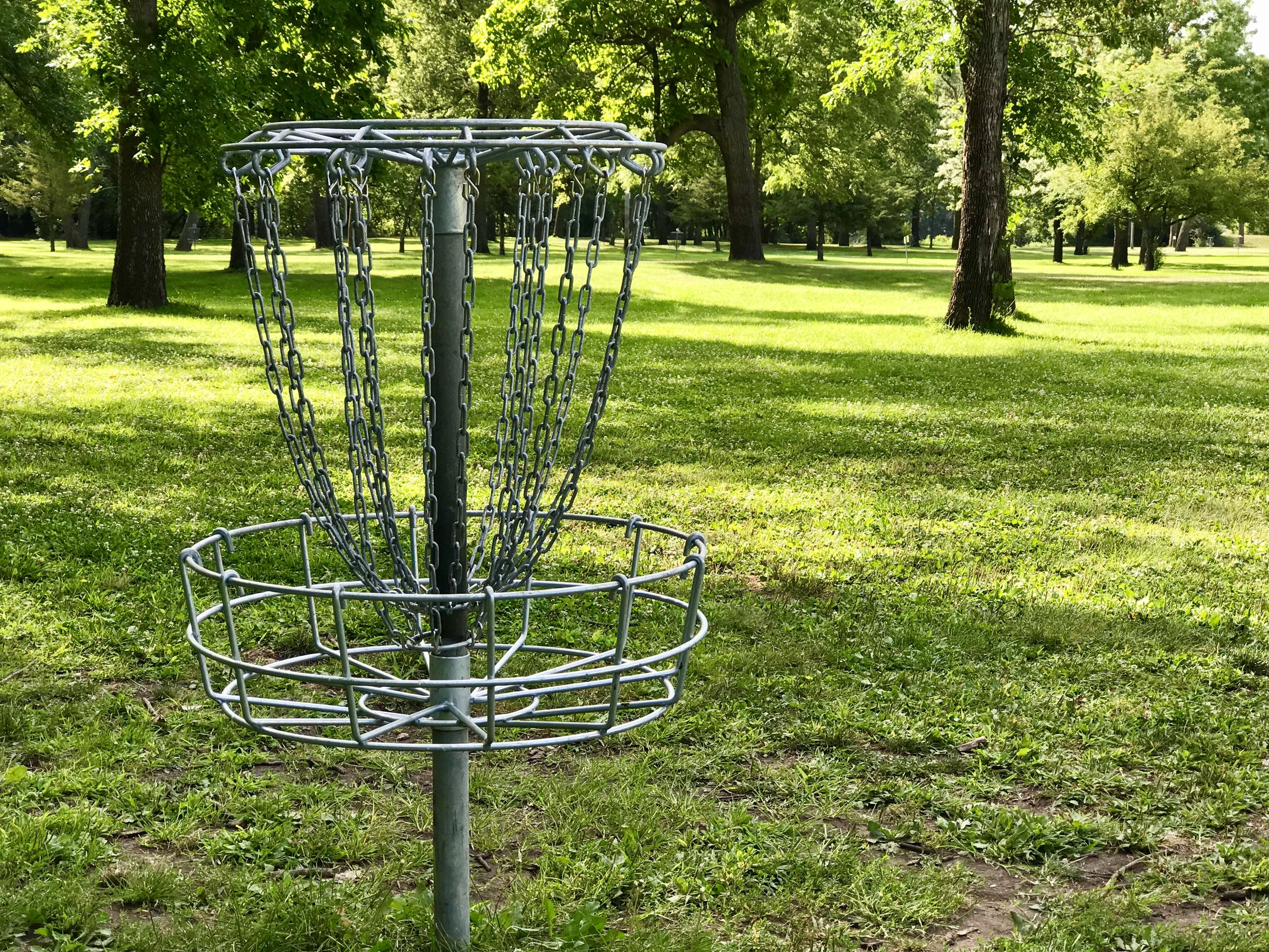 Tourist park disc golf hole basket