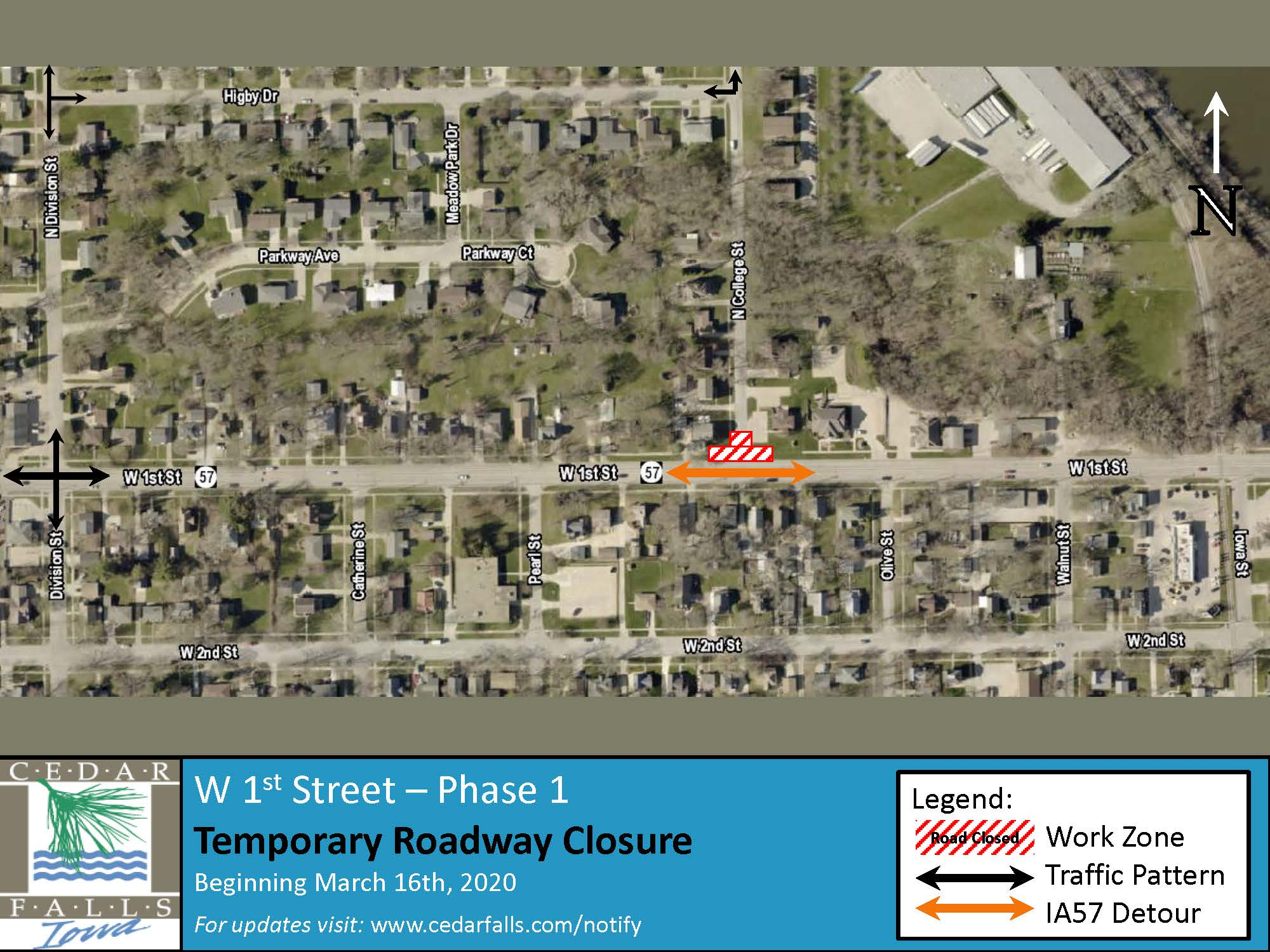 1st Street Phase 1 - Closure Map